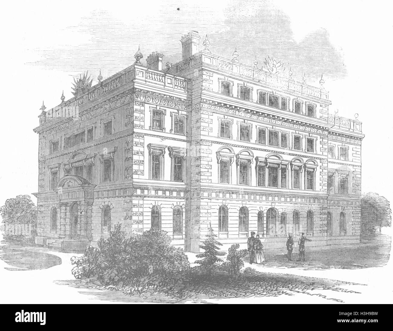 LONDON Cavalry College, Richmond keystone laid, 1857. Illustrated London News - Stock Image