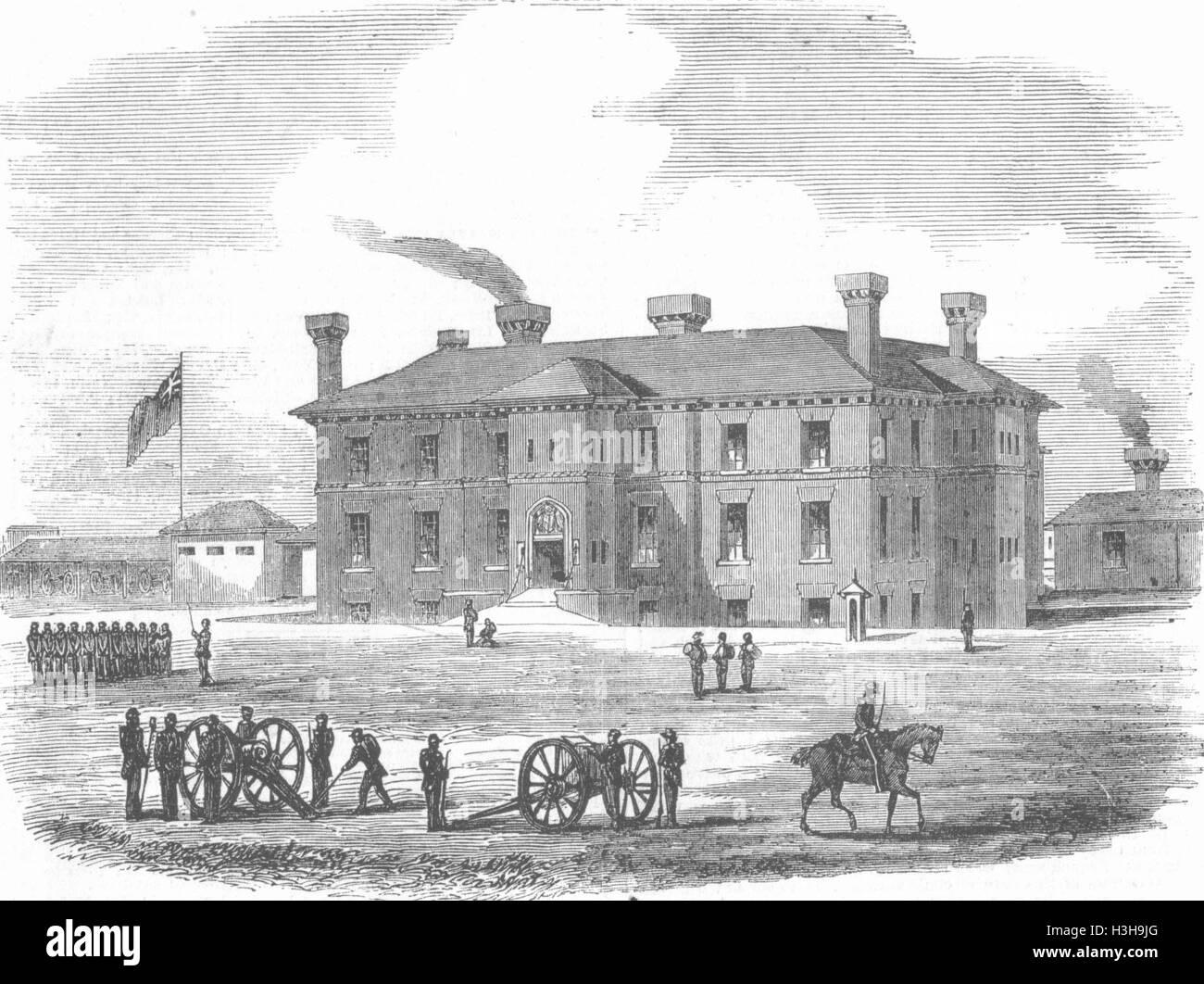 IPSWICH New Artillery Militia Barracks Antique Print 1855