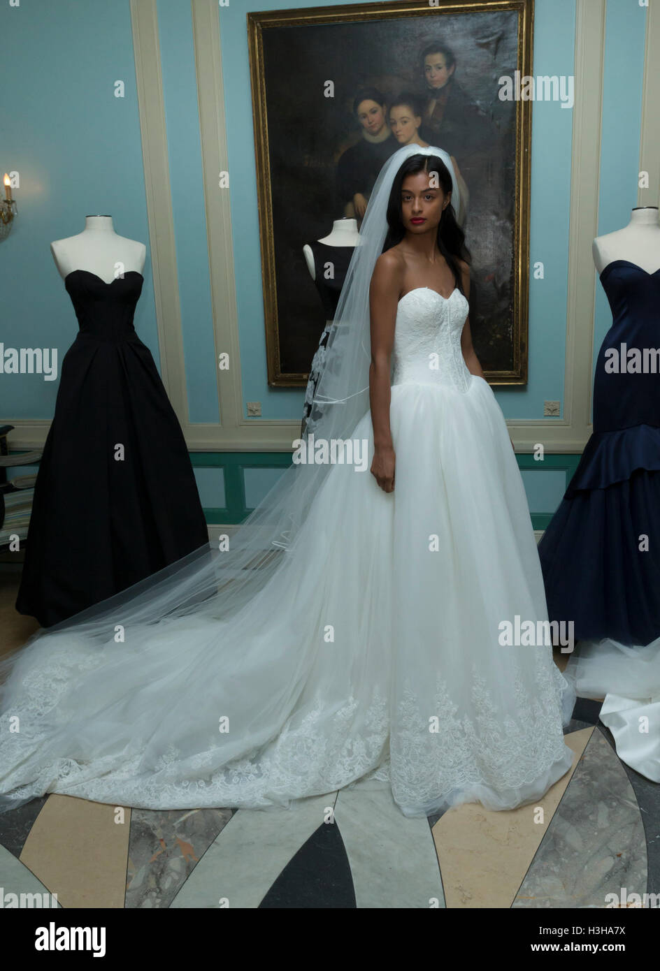 New York, NY USA - October 5, 2016: Model shows off wedding dresses by Zac Posen during New York Bridal week at - Stock Image