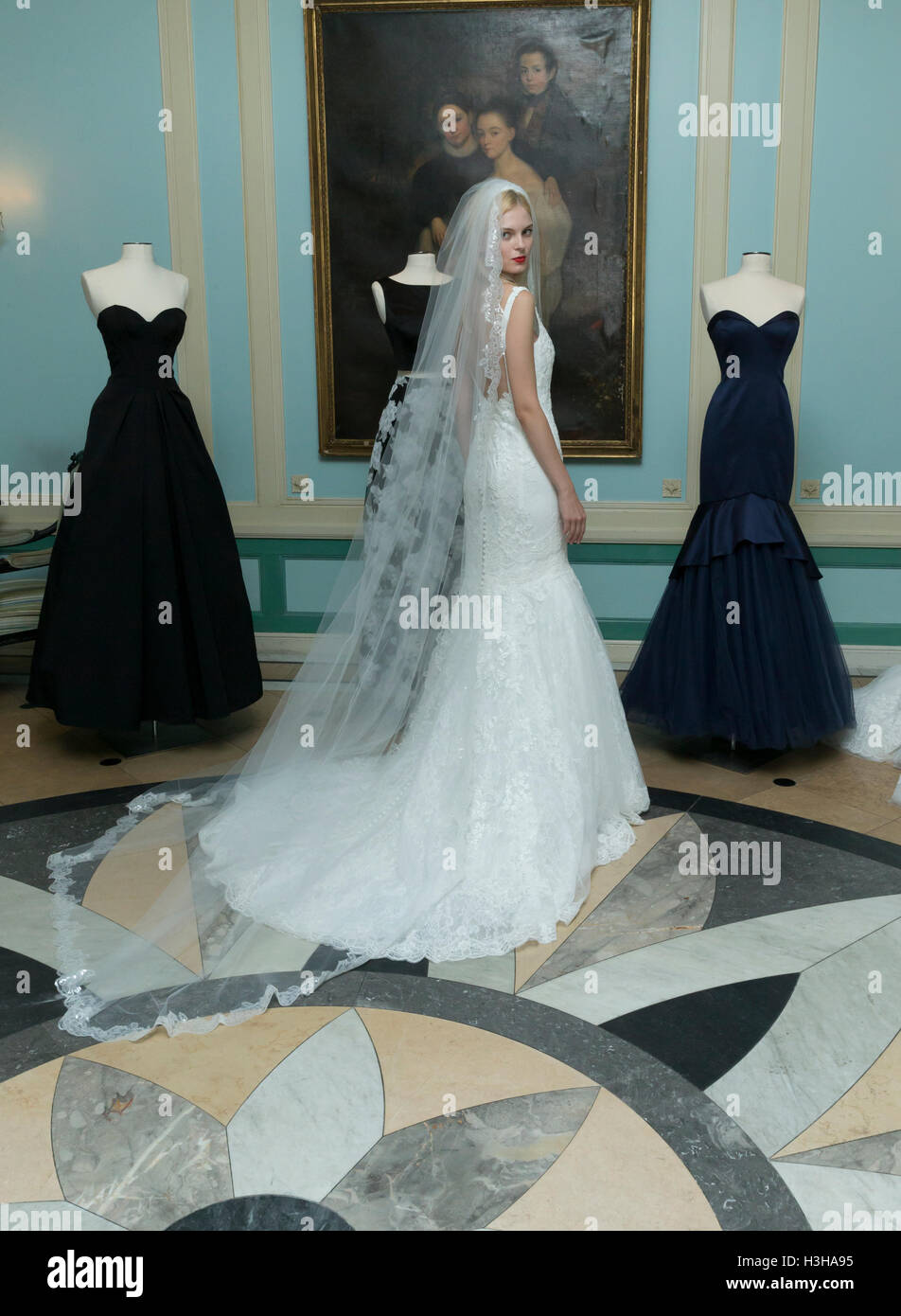 New York, NY USA - October 5, 2016: Model shows off wedding dresses by Zac Posen during New York Bridal week at Stock Photo