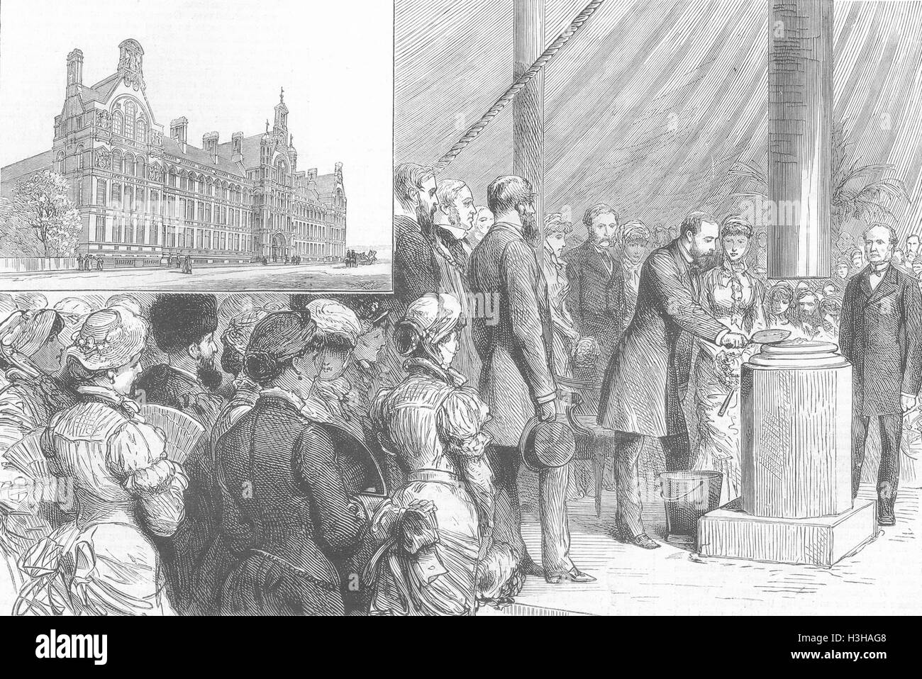 LONDON City & Guilds, South Kensington keystone 1881. The Graphic - Stock Image