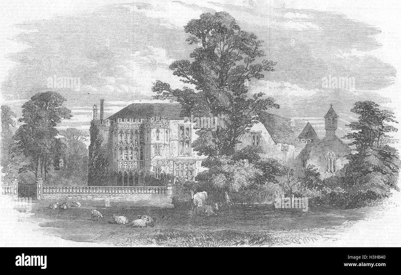 BRYMPTON D'EVERCY Church & Manor House, Yeovil, Somt 1856. Illustrated London News - Stock Image