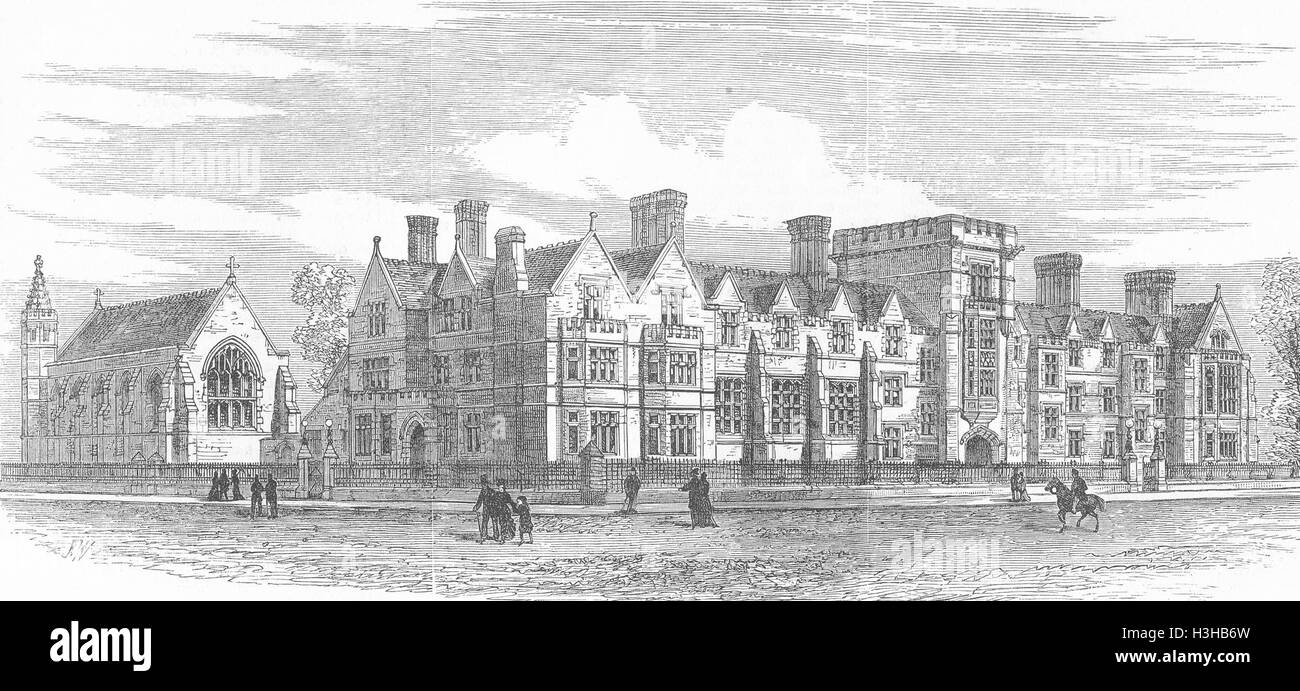 CAMBRIDGE Ridley Hall, for Theology Students 1881. Illustrated London News - Stock Image