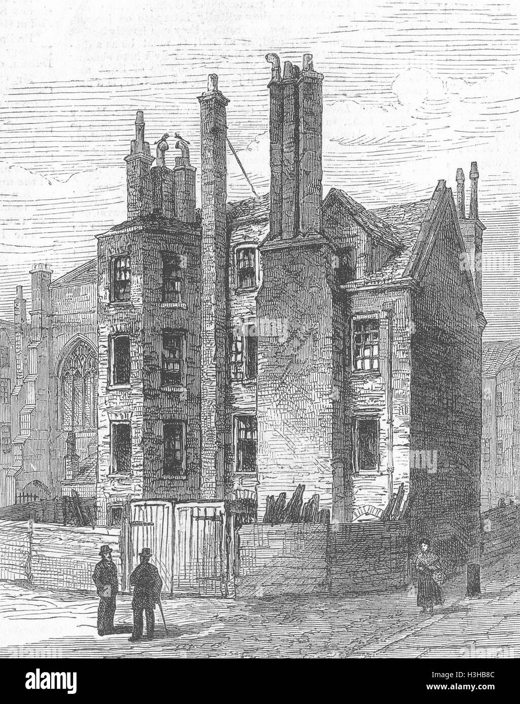 LINCOLNS INN Buildings, Lincoln's demolished 1881. Illustrated London News - Stock Image