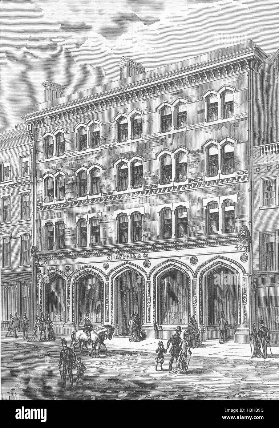 BOND ST Chappell & Co 's Premises, new 1878. Illustrated London News - Stock Image