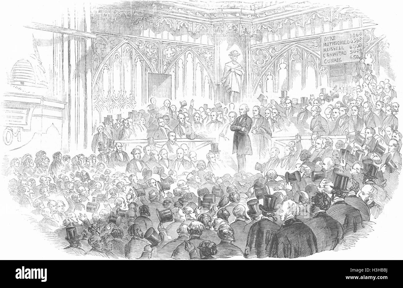 LONDON City election, Guildhall Lord John Russell 1857. Illustrated London News - Stock Image