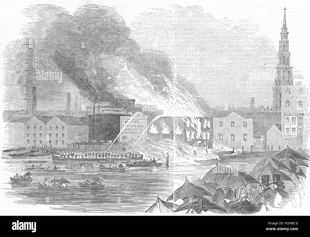 BLACKFRIARS Conflagration, Price's Wharf 1845. Illustrated London News - Stock Image