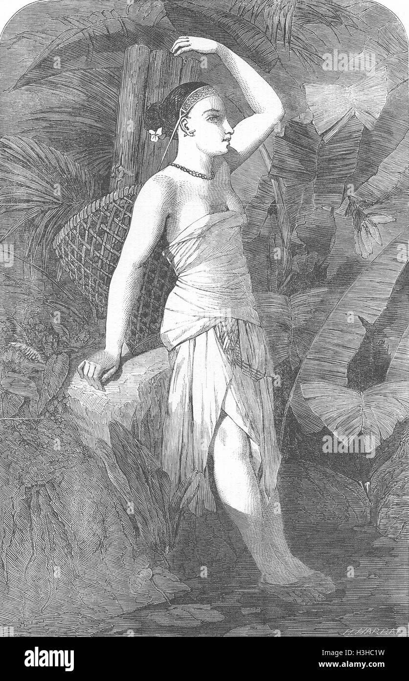INDIA Assam Girl 1852. Illustrated London News - Stock Image
