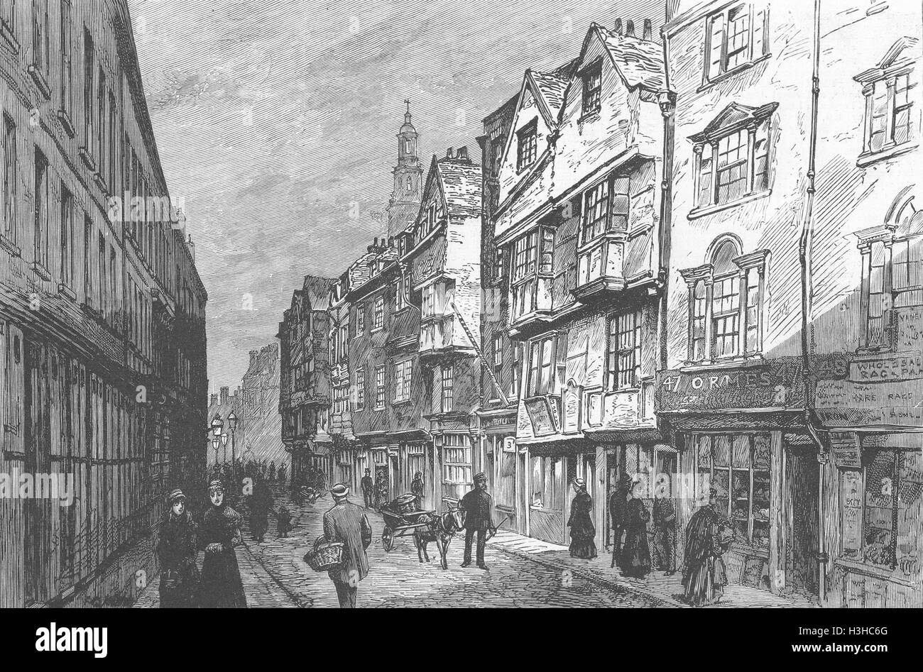 LONDON Houses, Wych St(Aldwych), demolished 1884. The Graphic - Stock Image