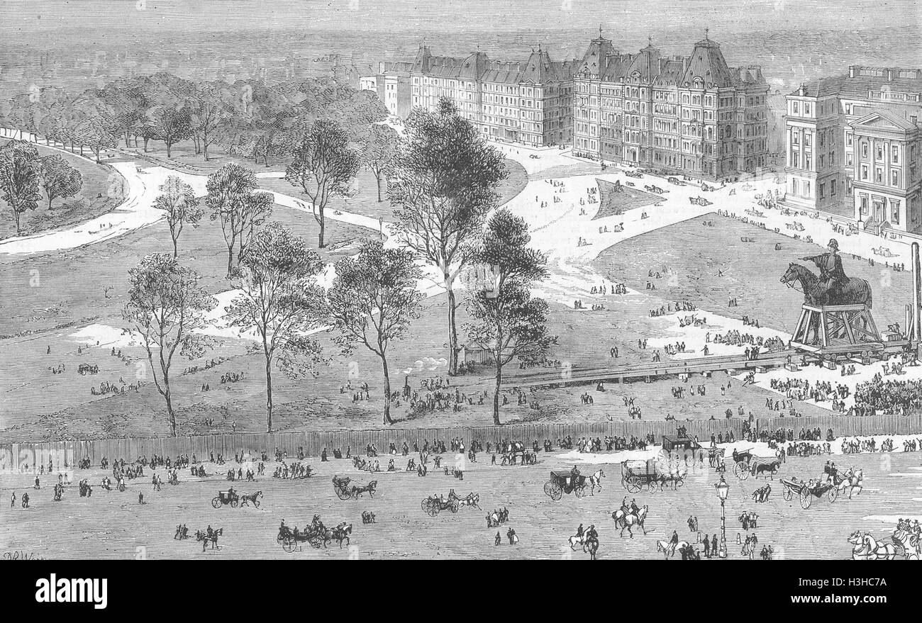 HYDE PARK CORNER Duke of Wellington statue moved 1883. The Graphic - Stock Image