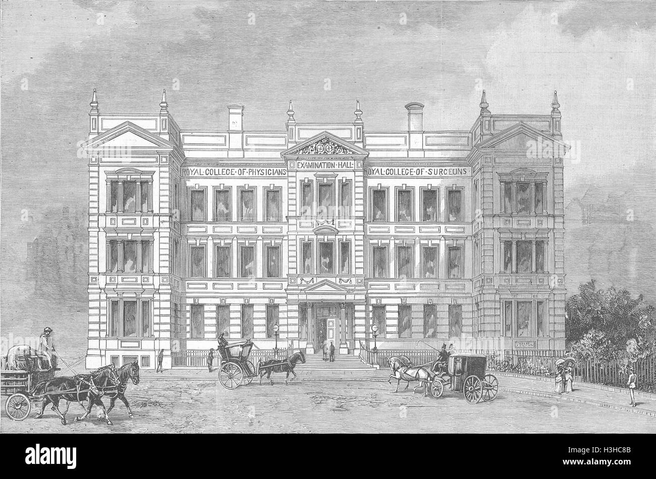 LONDON Exam hall, Royal College Surgeons, Physicians 1886. The Graphic - Stock Image