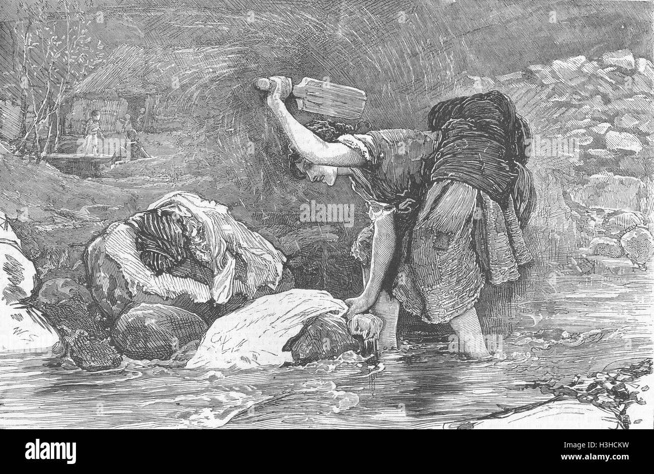 IRELAND West Highlands-Connemara washing 1871. The Graphic - Stock Image