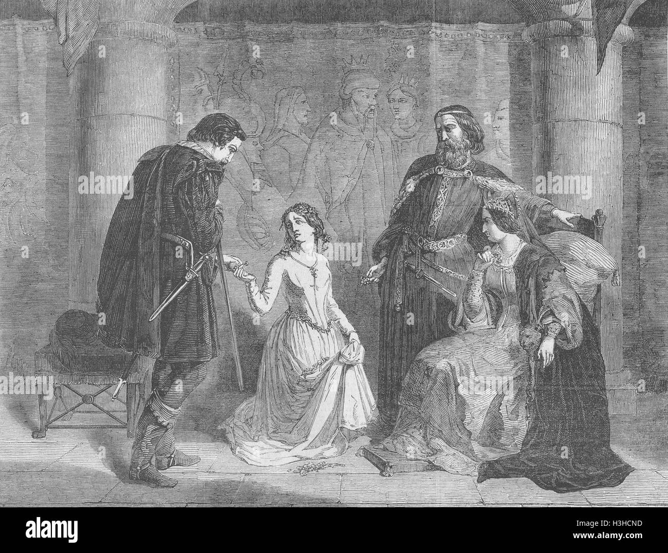 SHAKESPEARE 'Hamlet'-King, Ophelia & Laertes' 1852. Illustrated London News - Stock Image