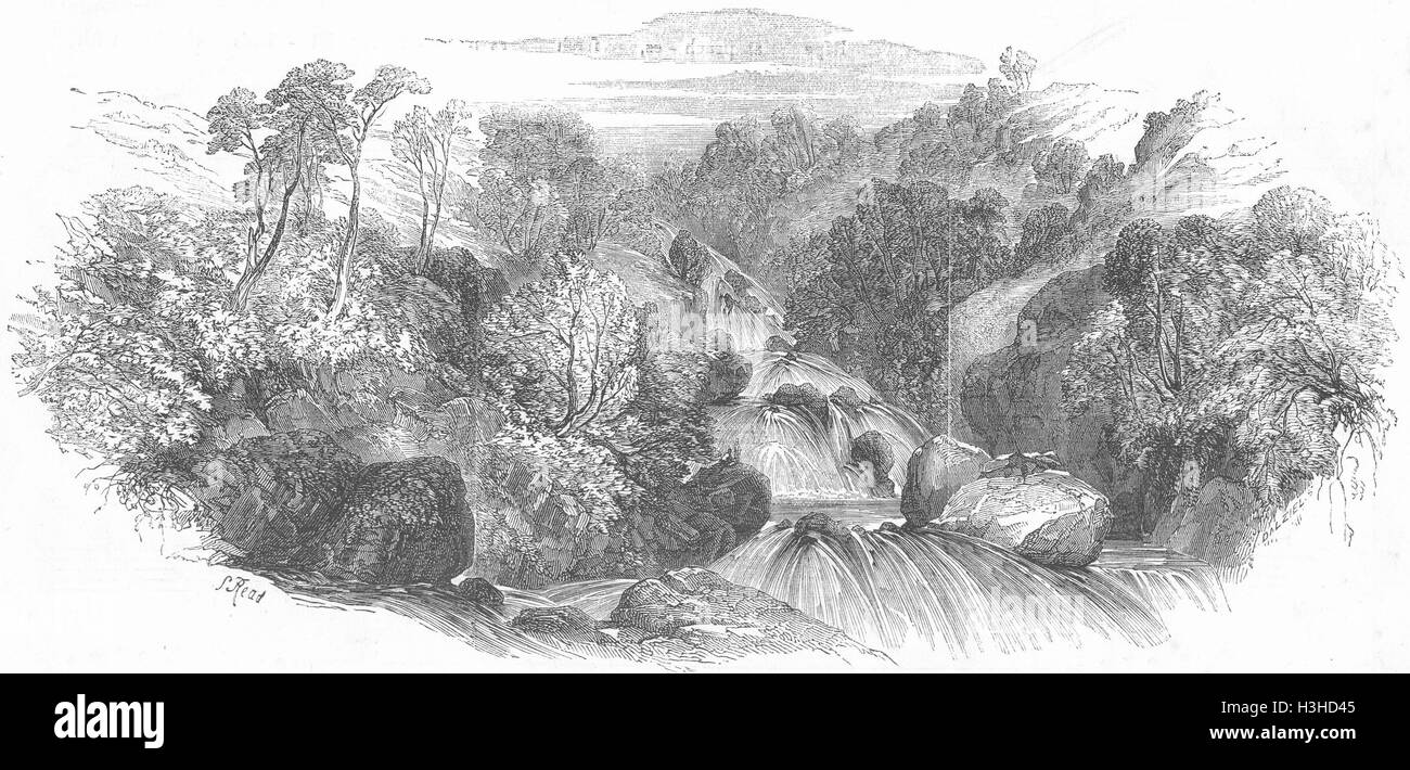LANDSCAPES Waterfalls 1852. Illustrated London News - Stock Image