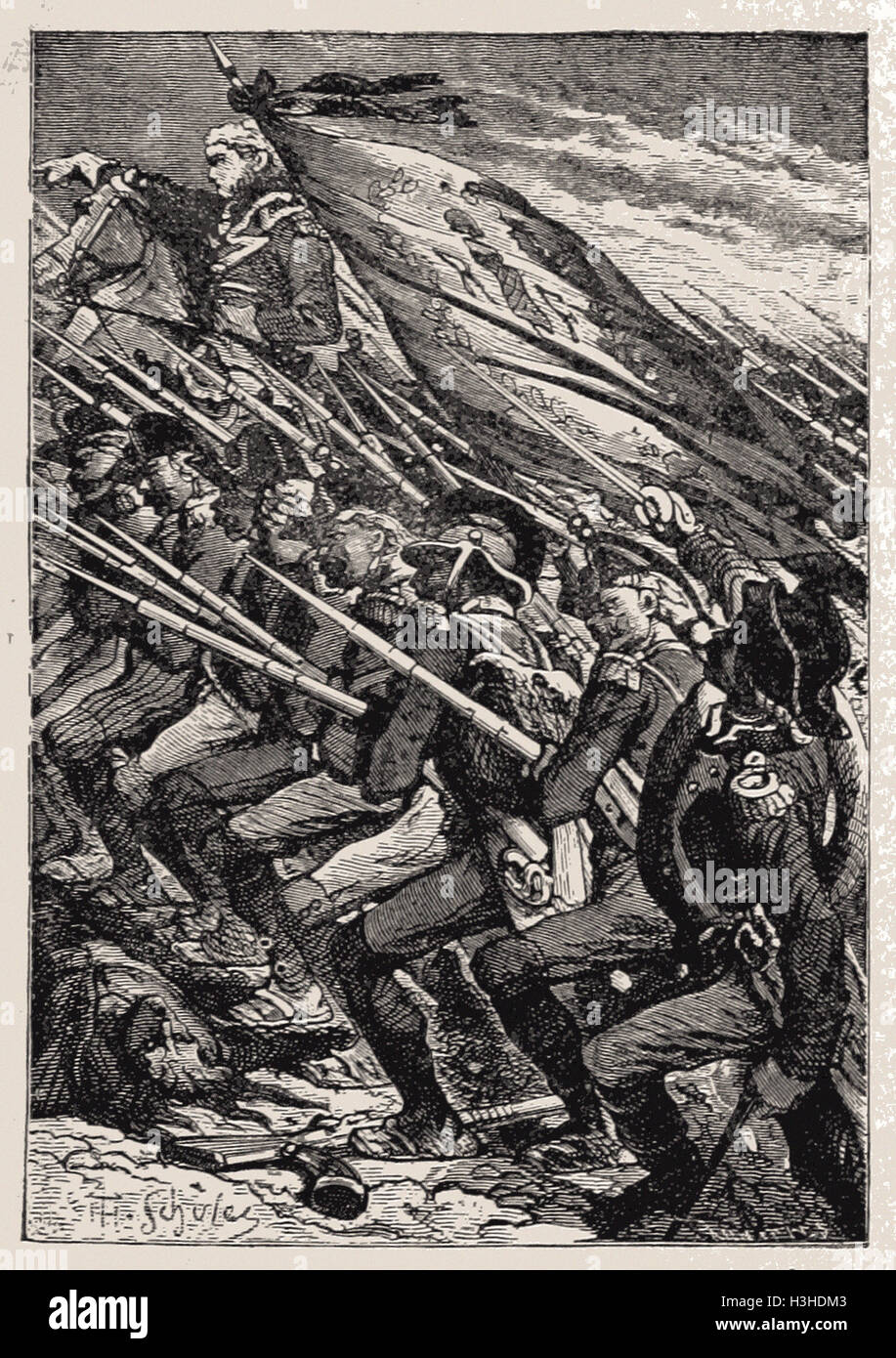 KLEBER LEADING A REPUBLICAN CHARGE IN LA VENDEE,  SEPTEMBER, 1793 - Stock Image