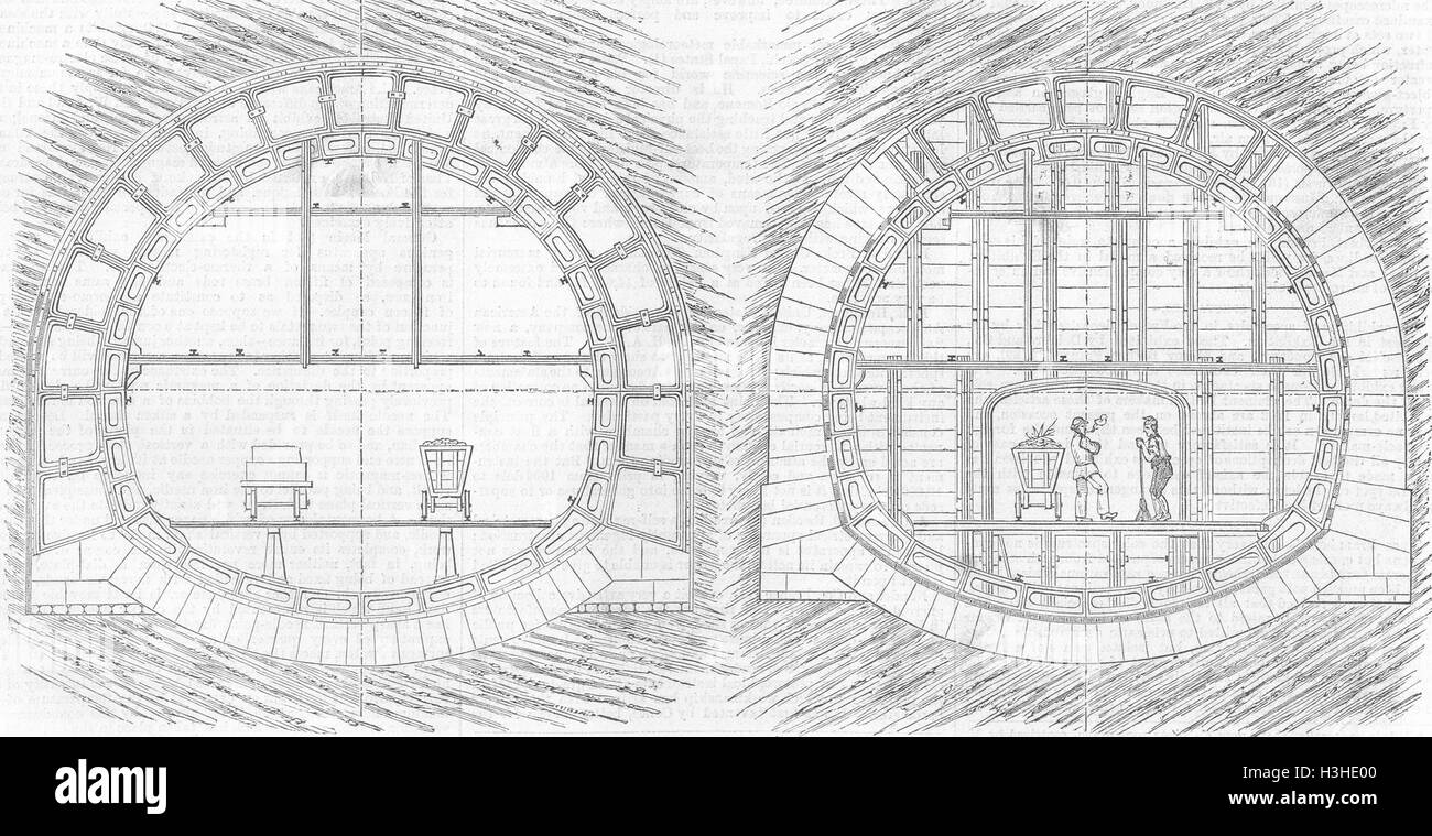 ENGINEERING System of tunnelling 1867. Illustrated London News - Stock Image