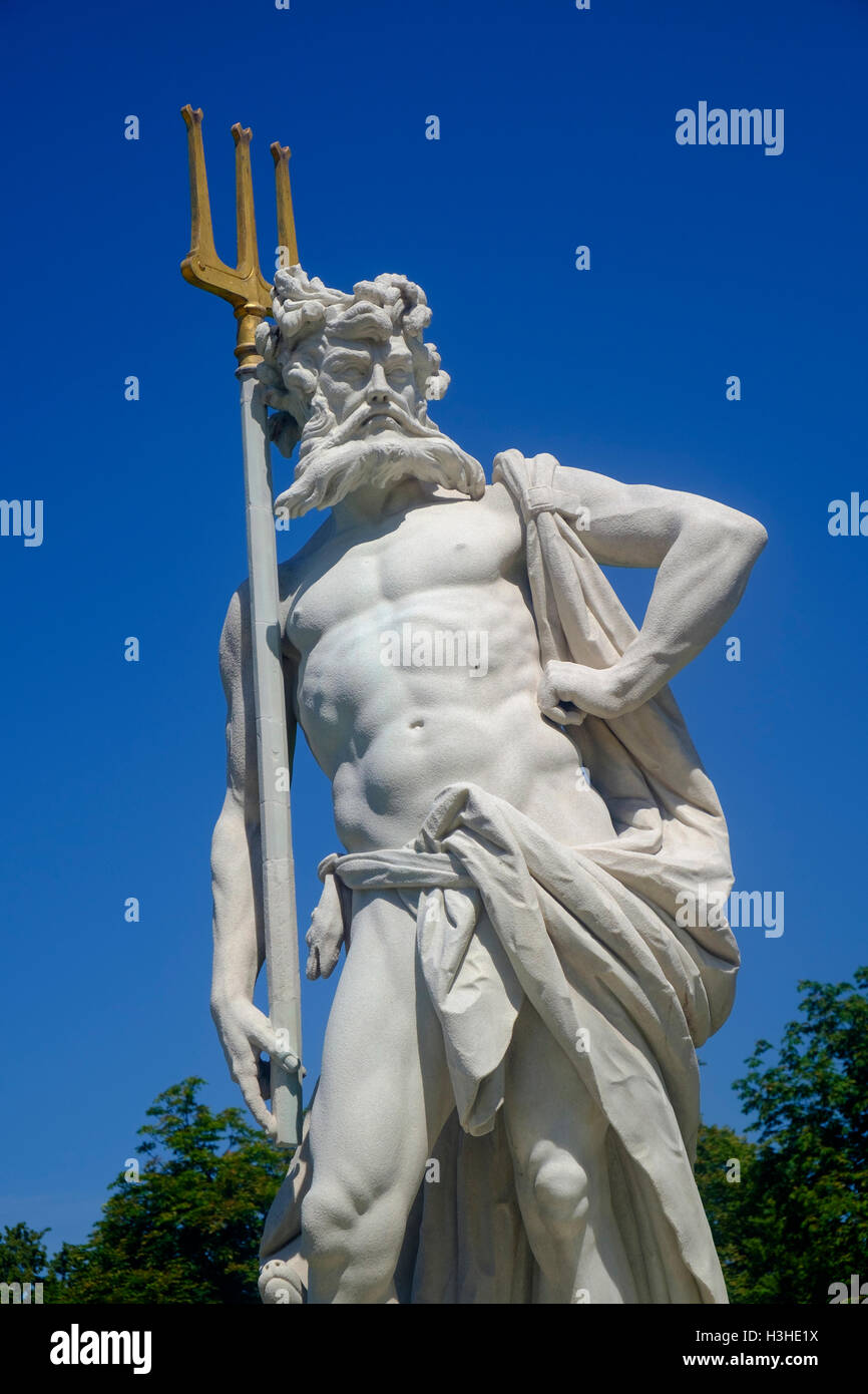Statue of Neptune in the gardens of the Nymphenburg Palace Munich Germany - Stock Image