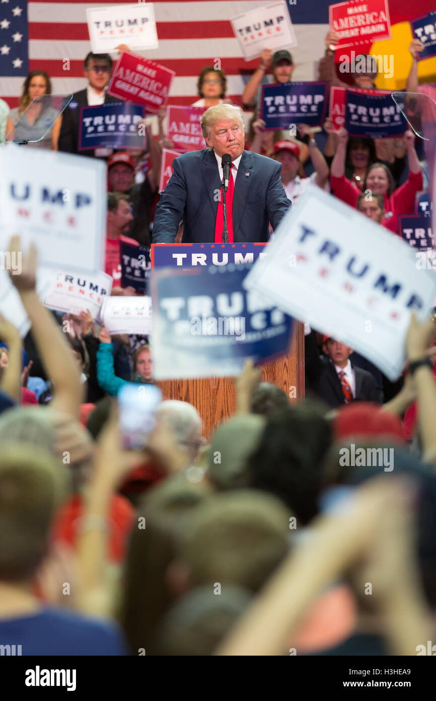 Republican Presidential Candidate and Reality TV Star Donald J. Trump speaking at his rally at the Budwiser Events - Stock Image