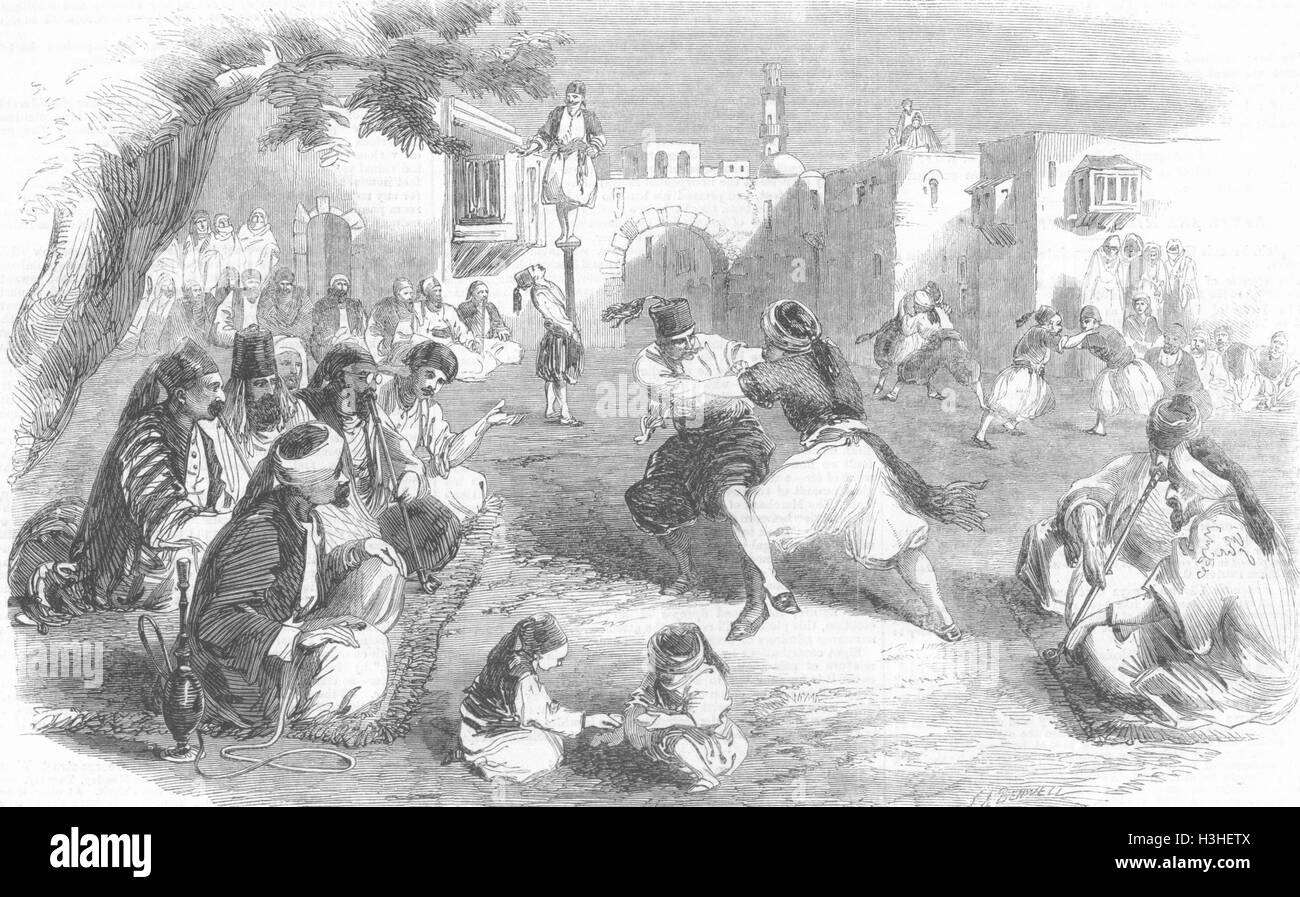 SYRIA Shebab(young bachelors)sports 1860. Illustrated London News - Stock Image