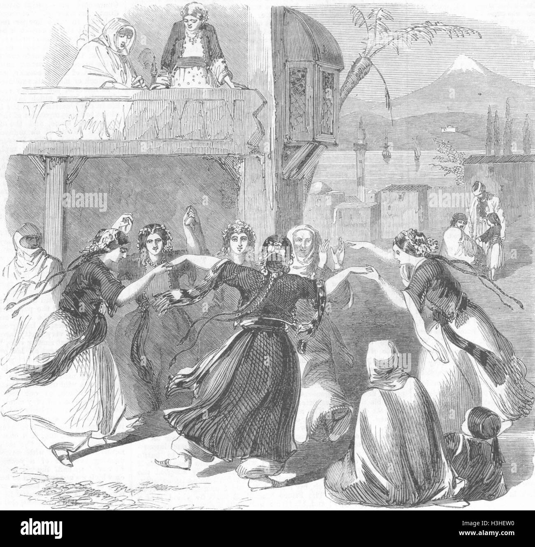 SYRIA Easter Pastimes Peasant girls dancing, circle 1860. Illustrated London News - Stock Image