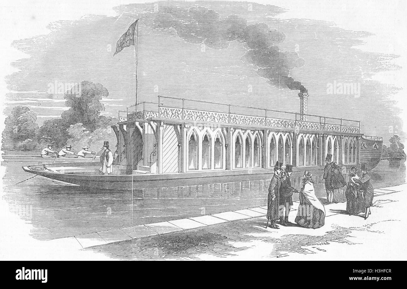 antique print OXON 1855 Barge of Oxford University boat-club