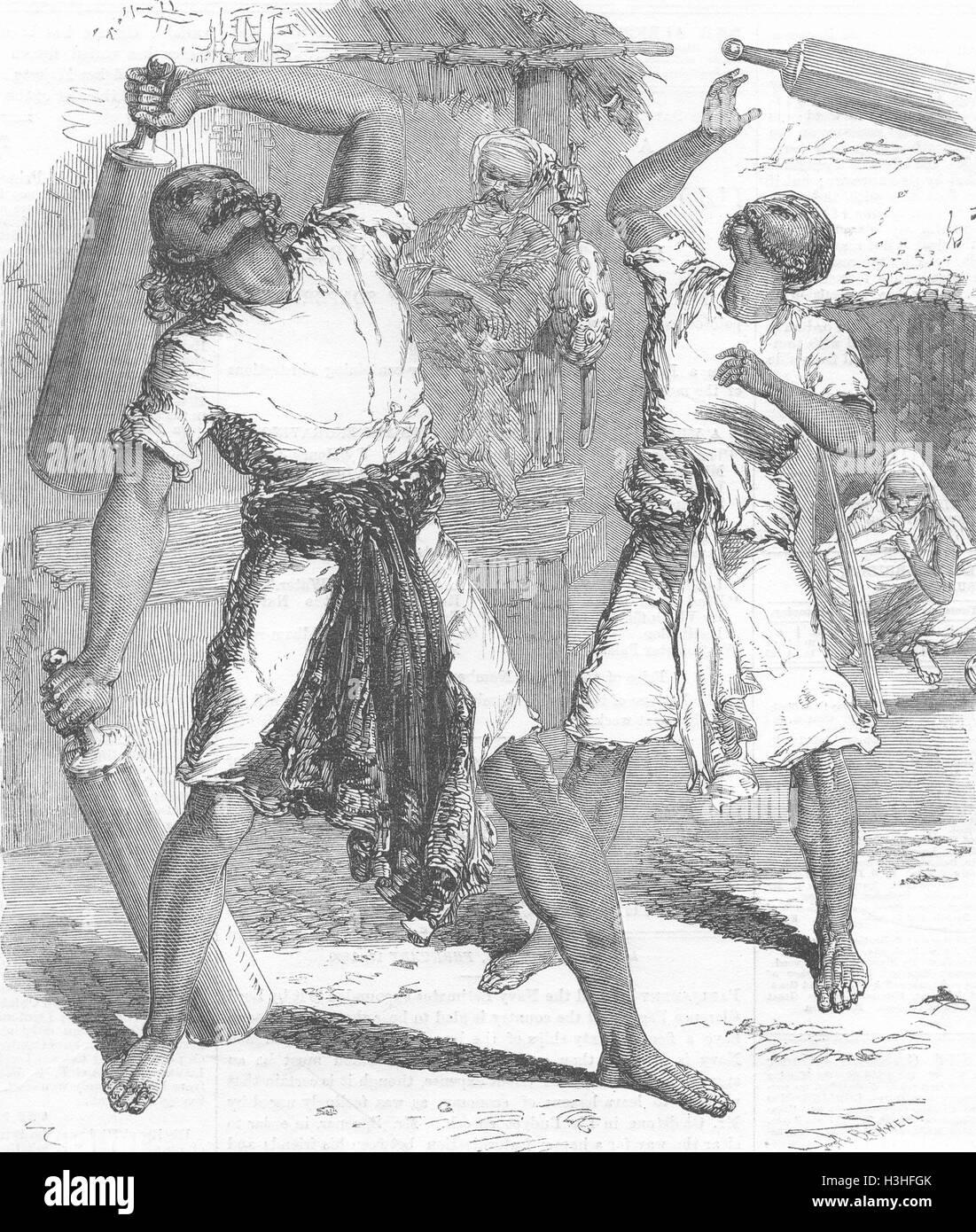 INDIA Calisthenic exercises in India 1860. Illustrated London News ...