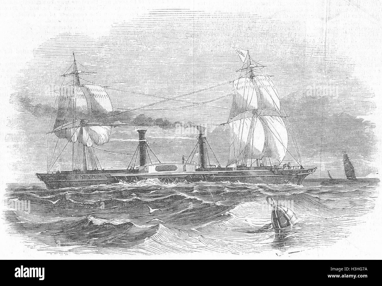 SHIPS New Govt ship Janus 1844. Illustrated London News - Stock Image
