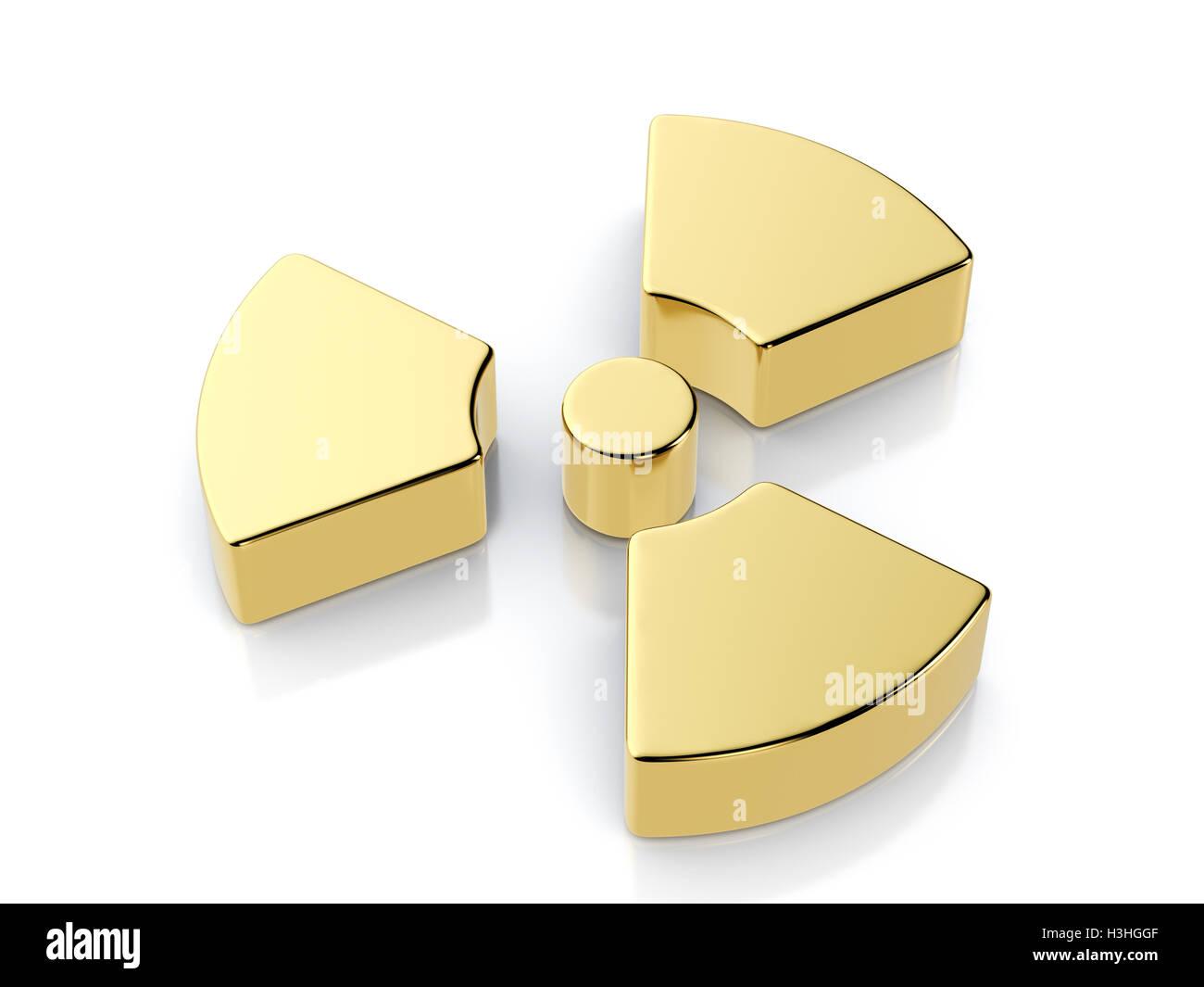 Golden radiation symbol on a white background. - Stock Image
