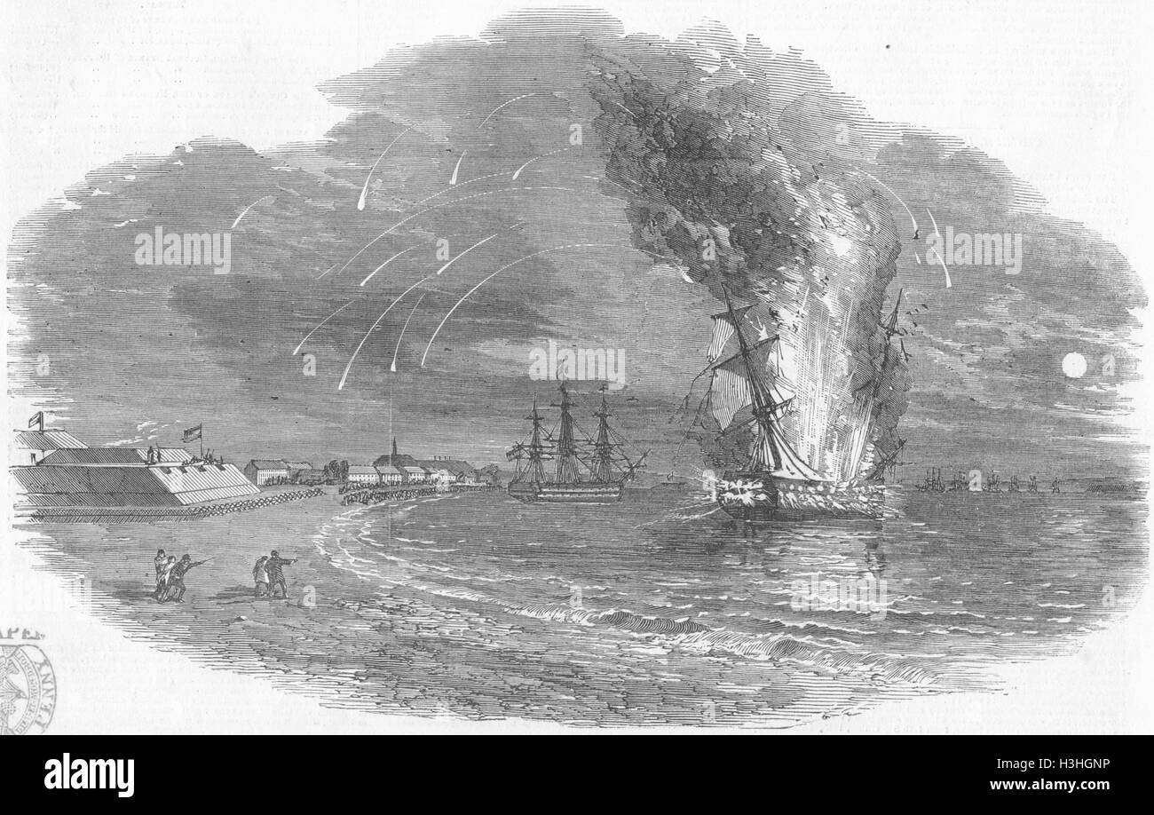 DENMARK Christian VIII, ship exploding, Eckernforde 1849. Illustrated London News - Stock Image