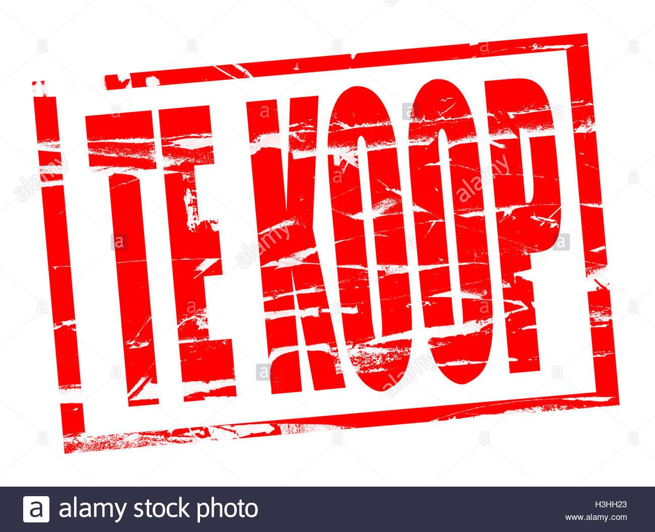 Rode stempel effect te koop For sale in Dutch - Stock Image