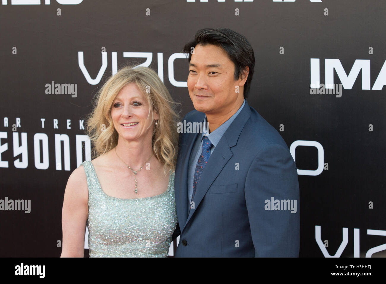 Dyanne Stempel and Doug Jung (r) attend Star Trek Beyond World Premier during San Diego Comic Con at Embarcadero - Stock Image