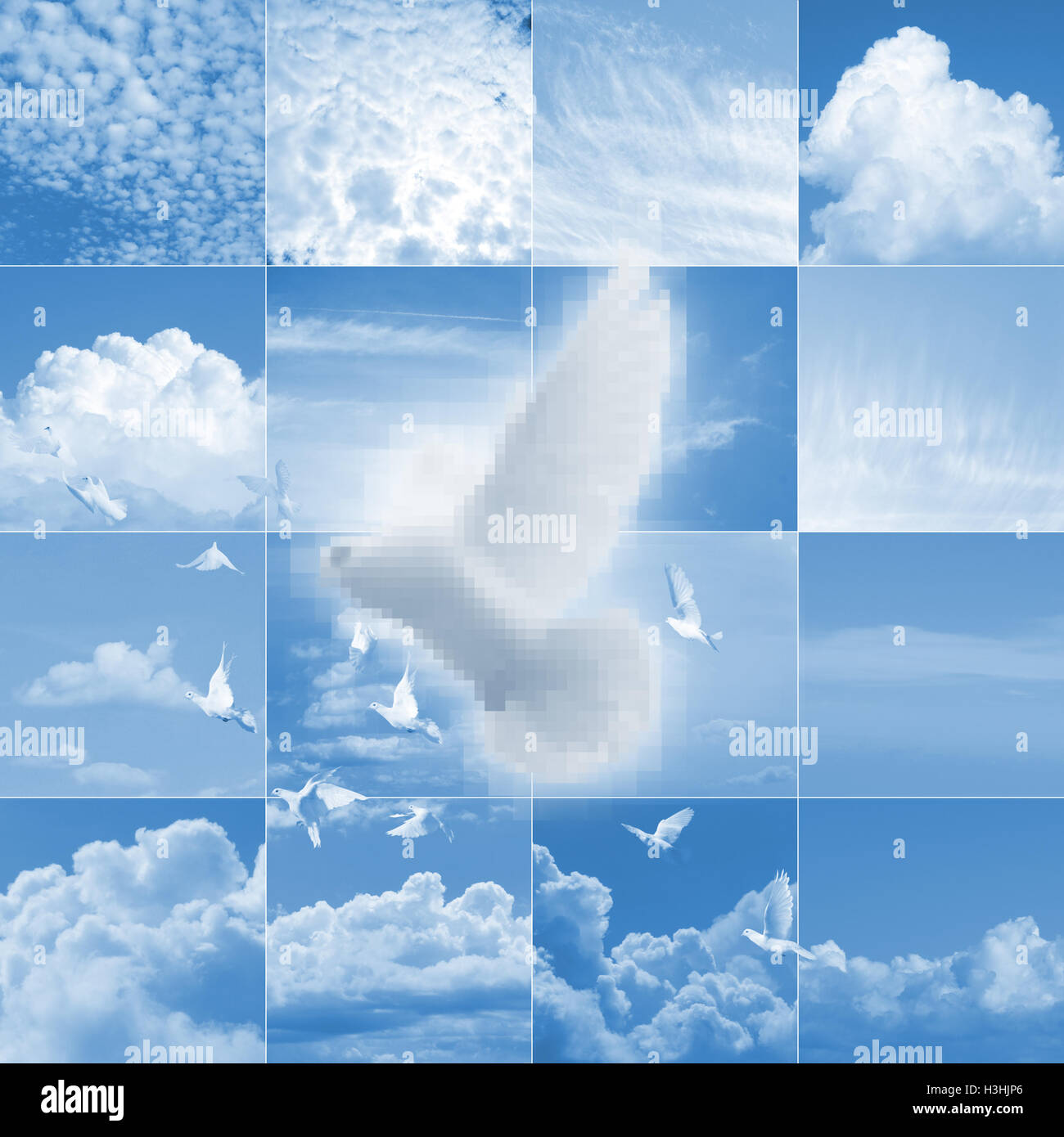 A pixelated white dove is flying over various photographed cloud shapes mosaic. - Stock Image
