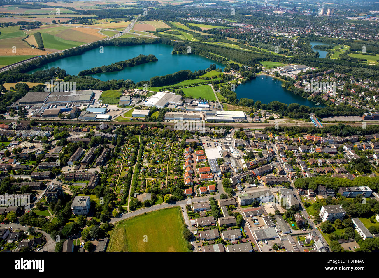 Aerial picture, the Duisburg south, Ruhr area, North Rhine-Westphalia, Germany, Europe, aerial picture, birds-eyes - Stock Image