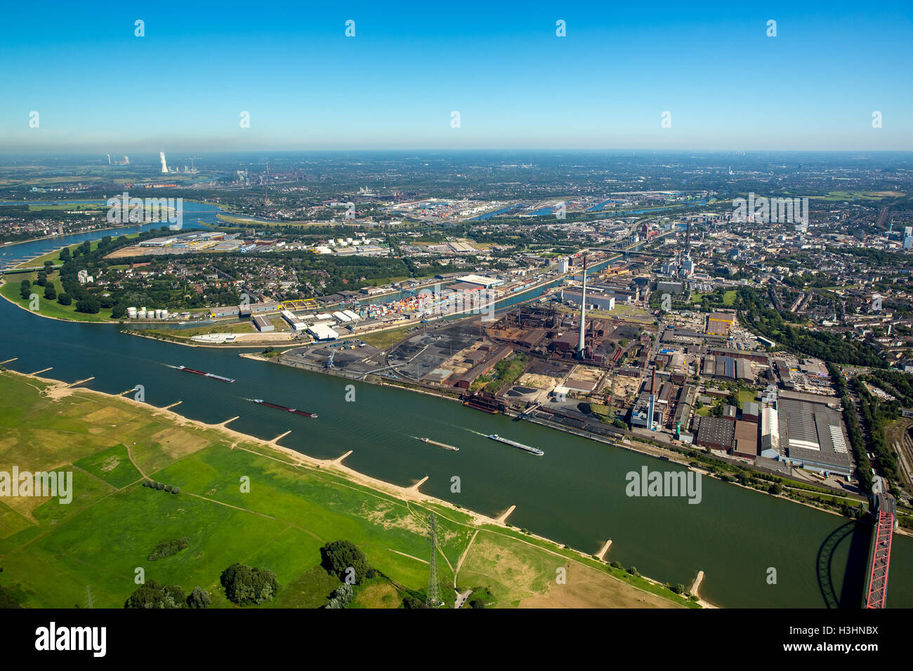 Aerial view, parallel port Duisburg Hochfeld, Duisburg Harbour Company, Rhine, Duisburg, Ruhr area, North Rhine - Stock Image