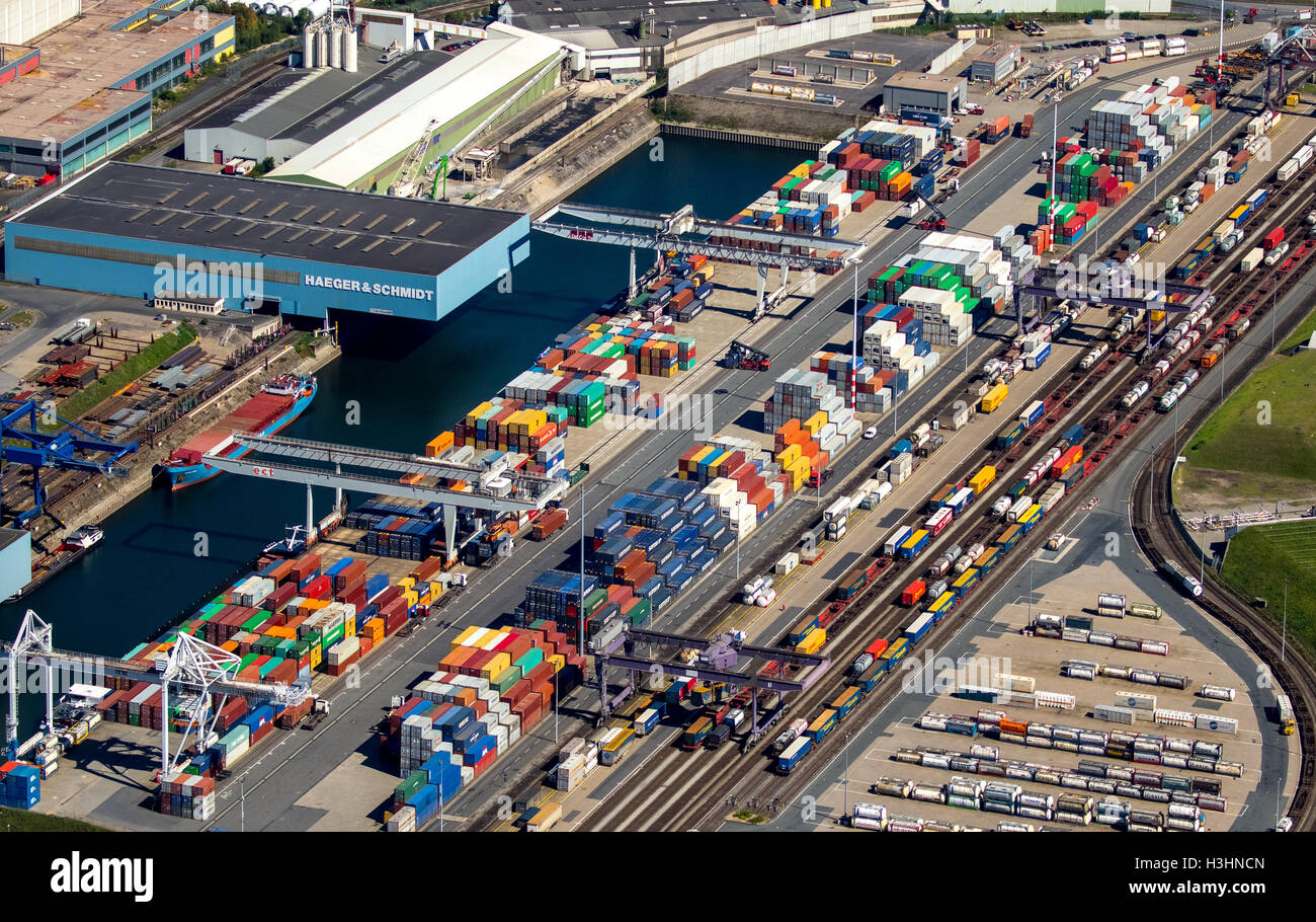 Aerial view, Duisport, the largest inland port in Europe, Port of Duisburg company, Rhine, Duisburg, Ruhr area, - Stock Image