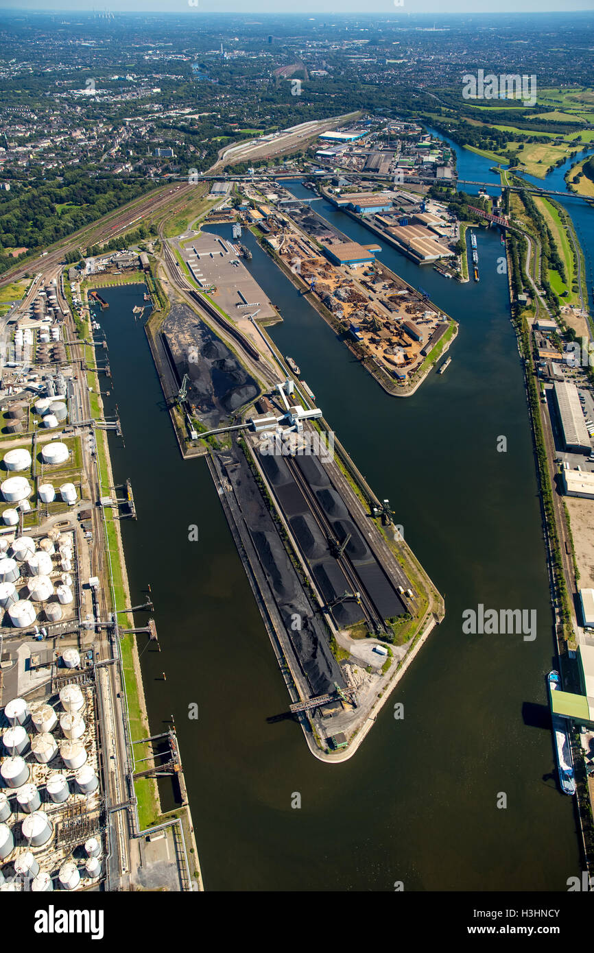 Aerial view, Duisport, the largest inland port in Europe, Ruhr, Rhine-Herne Canal, Port of Duisburg company, Rhine, - Stock Image