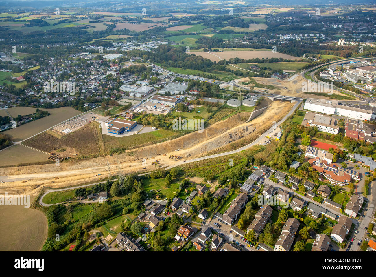 Aerial view, A44 extension between Velbert and Heiligenhaus, highway construction, Velbert, Ruhr area, North Rhine - Stock Image