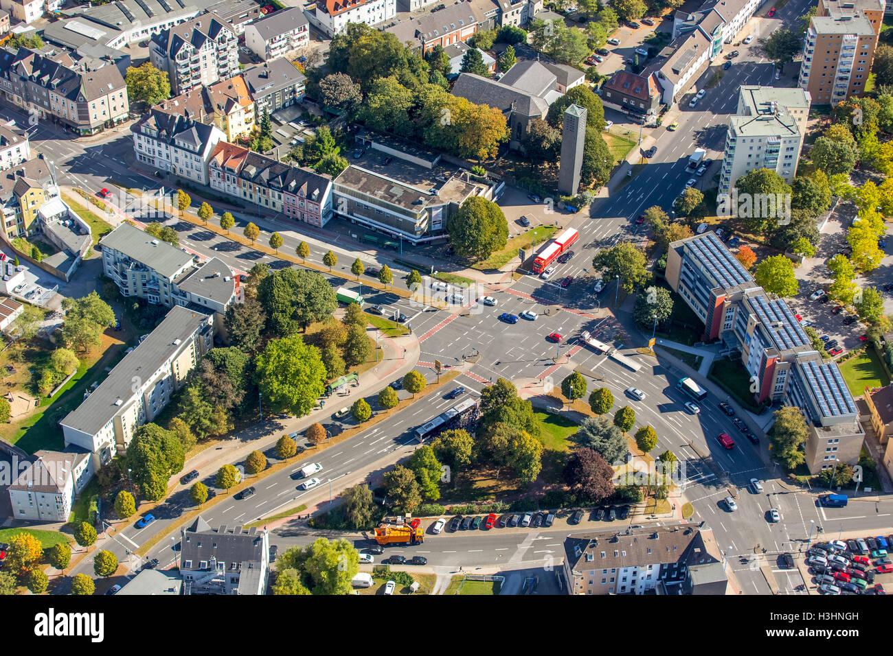 Aerial view, crossroad Rheinlandstraße Berliner Straße, downtown crossing, Velbert, ,, Ruhr area, North Rhine-Westphalia, Stock Photo