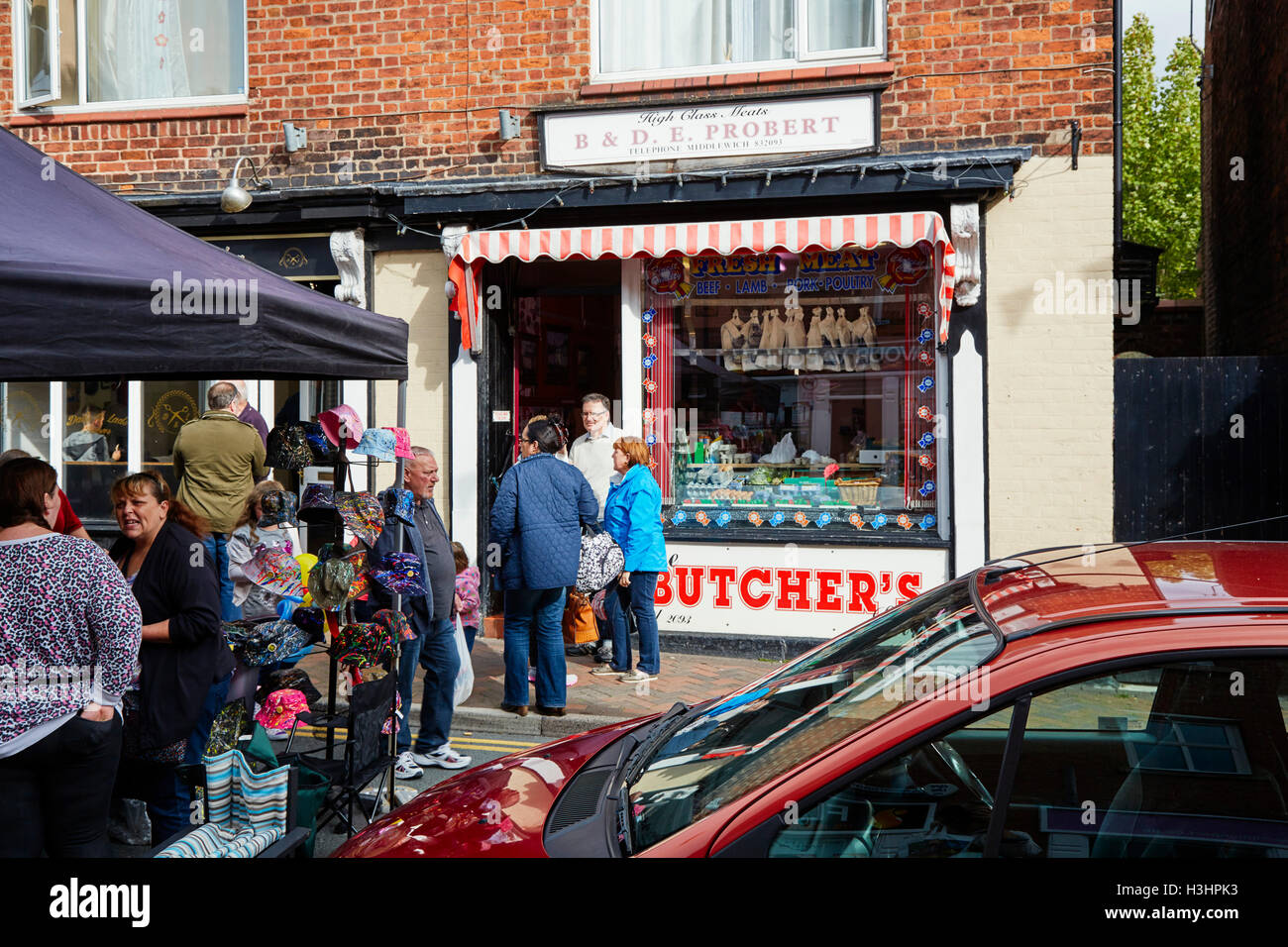 B & D E Probert high class meats, Middlewich - Stock Image