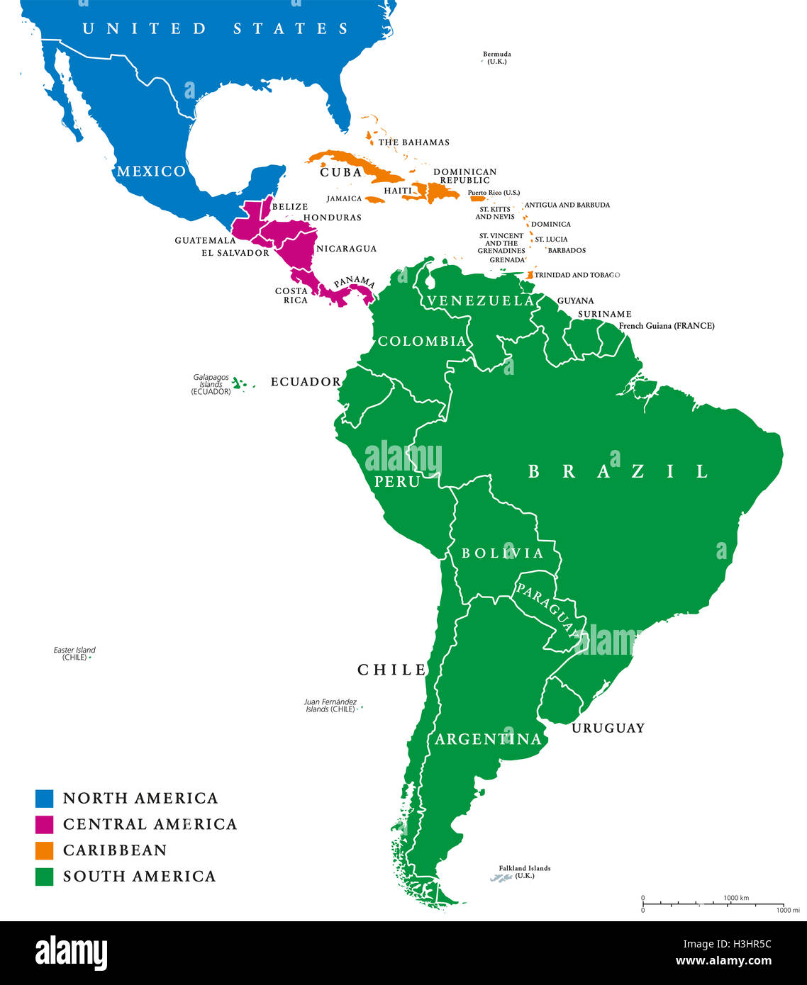 Latin America regions political map The subregions Caribbean North