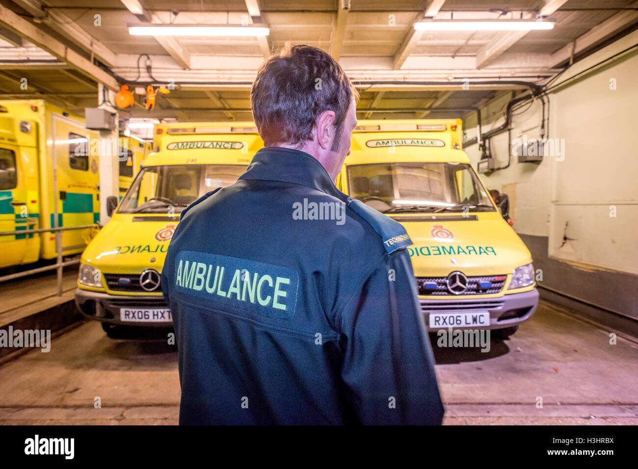 Brighton Paramedics on duty on the Friday before Christmas.   Ambulance Technician Martin Dowle at the Elm Grove - Stock Image
