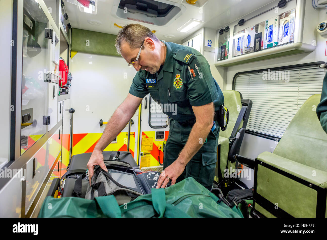 Brighton Paramedics on duty on the Friday before Christmas.   Critical Care Paramedic Gerry Davies at the Elm Grove - Stock Image