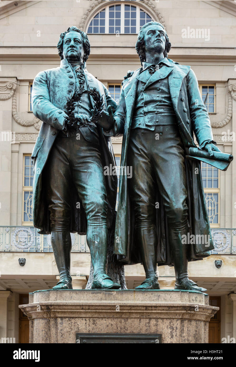 Goethe–Schiller Monument in front of the Deutches Nationaltheater, Theaterplatz, Weimar, Thuringia, Germany - Stock Image