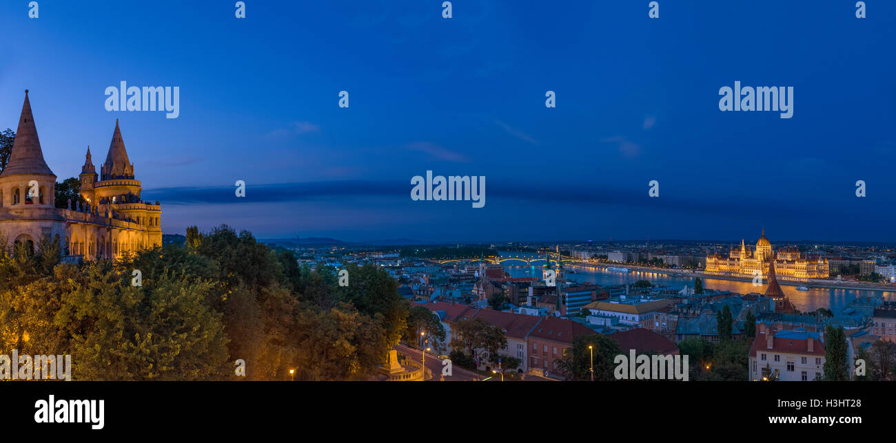 Budapest, Hungary.View over the Danube River towards the Hungarian Parliament from Fishermen's Bastion, Buda - Stock Image