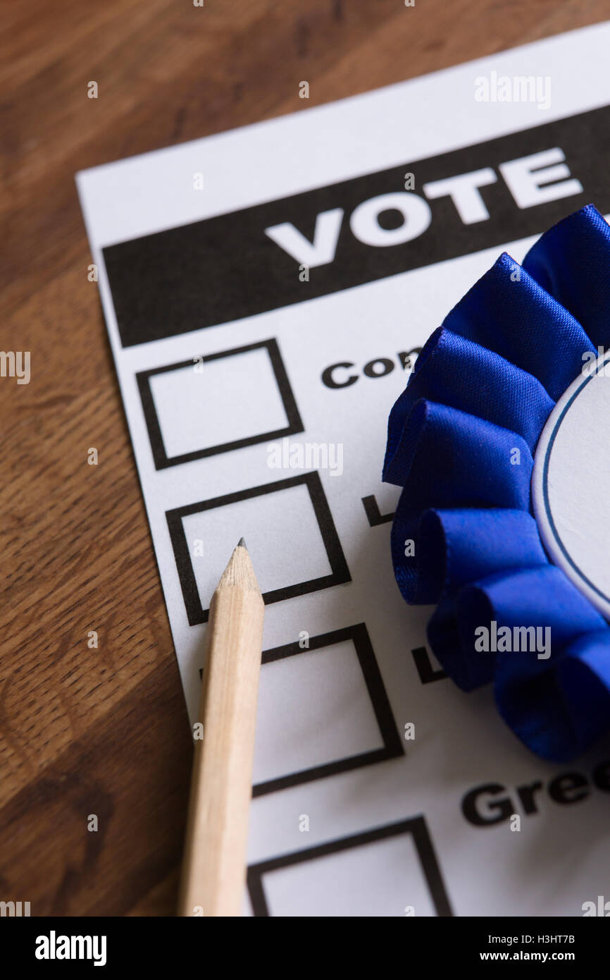 Blue Political Rossette On Ballot Paper For Election - Stock Image