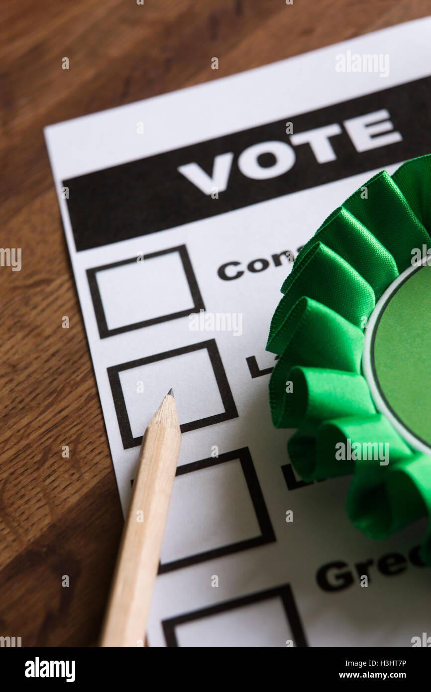 Green Political Rossette On Ballot Paper For Election - Stock Image