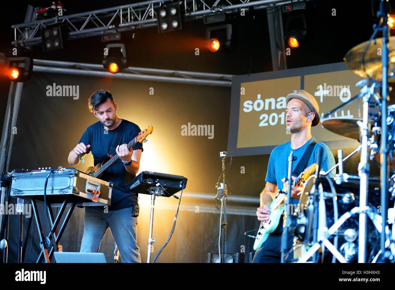 BARCELONA - JUN 13: Bonobo (musician, producer and DJ) performance at Sonar Festival on June 13, 2014 in Barcelona, - Stock Image