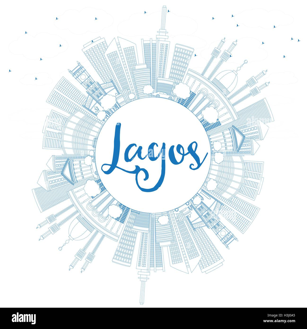 Outline Lagos Skyline with Blue Buildings and Copy Space. Vector Illustration. Business Travel and Tourism Concept - Stock Image