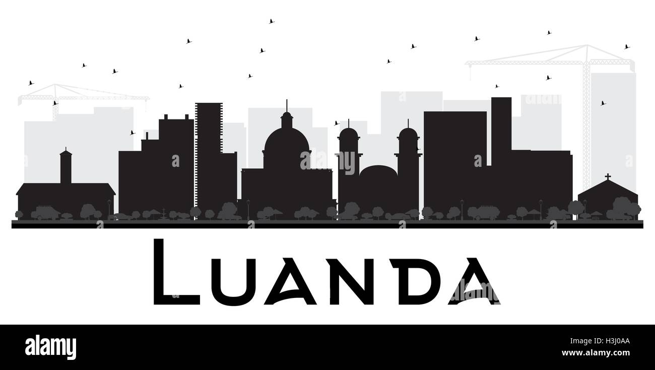 Luanda City skyline black and white silhouette. Vector illustration. Simple flat concept for tourism presentation, - Stock Vector