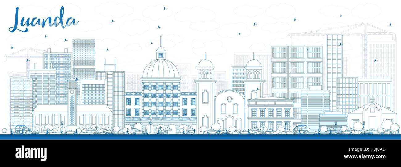 Outline Luanda Skyline with Blue Buildings. Vector Illustration. Business Travel and Tourism Concept with Modern - Stock Vector
